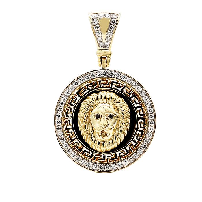 LION  PENDANT WITH DIAMOND BEZEL- 10K YELLOW GOLD| 10.6G| 1.00CT TDW