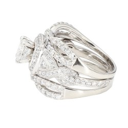 "DIAMOND BRIDAL SET- 14K WHITE GOLD  9.8G  0.75CT(C)  3.50CT TDW  SIZE 6"""