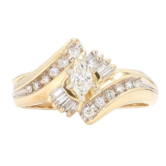 "DIAMOND BRIDAL SET- 14K YELLOW GOLD| 0.50CT| SIZE 6.50"""