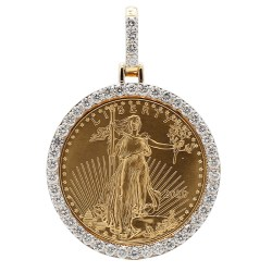 1OZ GOLD LIBERTY COIN IN 14K GOLD & 3.20CT DIAMOND BEZEL| WEIGHT 41 GRAMS