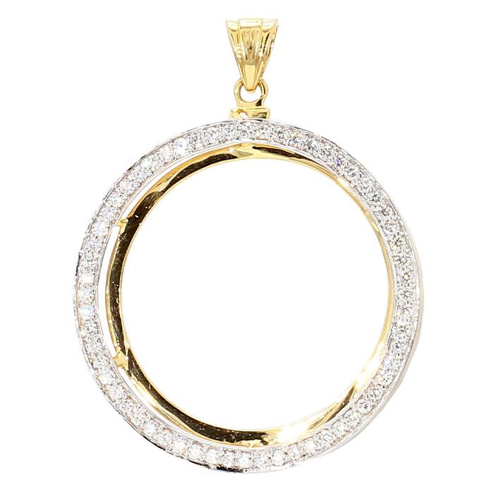 DIAMOND BEZEL FOR 1OZ GOLD COIN- 14K YELLOW GOLD| 7.5G| 1.34CT TDW