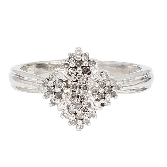 "DIAMOND RING- 10K WHITE GOLD| 2.9G| SIZE 7"""