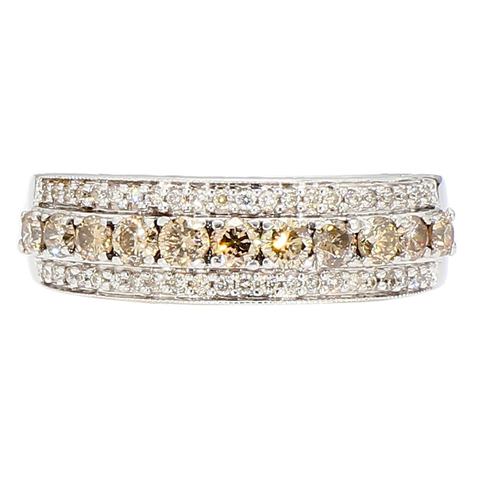 "DIAMONDS BAND- 14K WHITE GOLD| 4.6G| 0.75CT TDW| SIZE 7"""