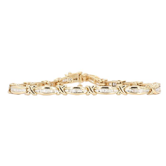 "DIAMOND BRACELET- 14K YELLOW GOLD  11.5G  1.00CT TDW  LENGTH 7.50"""