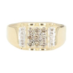 "MENS DIAMOND RING- 10 K YELLOW GOLD  0.50CT TDW  SIZE 7.75"""