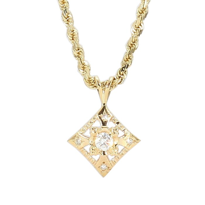DIAMOND PENDANT ON ROPE NECKLACE- 14K YELLOW GOLD| 0.25CT TDW|