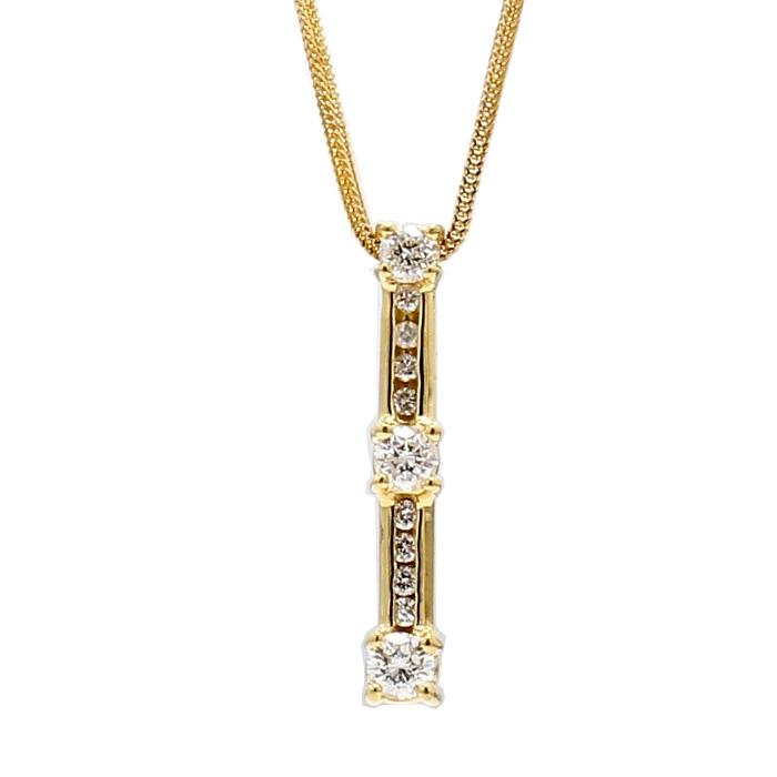 "DIAMOND PENDANT & GOLD  NECKLACE- 14K GOLD| 0.45CT TDW| LENGTH 18"""