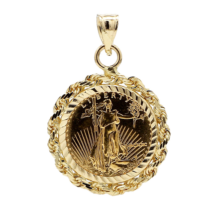 22K 1/10TH OUNCE GOLD LIBERTY COIN WITH 14K GOLD BEZEL| 5.5G