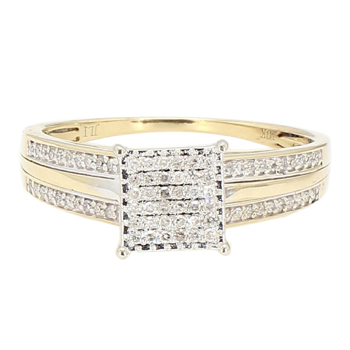 DIAMOND ENGAGEMENT RING- 10K YELLOW GOLD| 2.7G| 0.50CT TDW| SIZE 7.25""