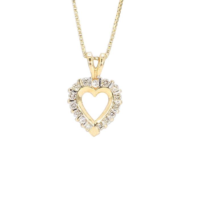 "DIAMOND HEART PENDANT WITH BOX CHAIN- 14K YELLOW GOLD|3.1G| LENGTH 17"""