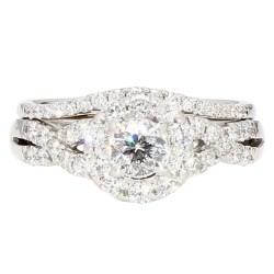 "DIAMOND BRIDAL SET- 14K WHITE GOLD| 6.2G| 0.50CT TDW| 1.50CT TDW| SIZE 6"""