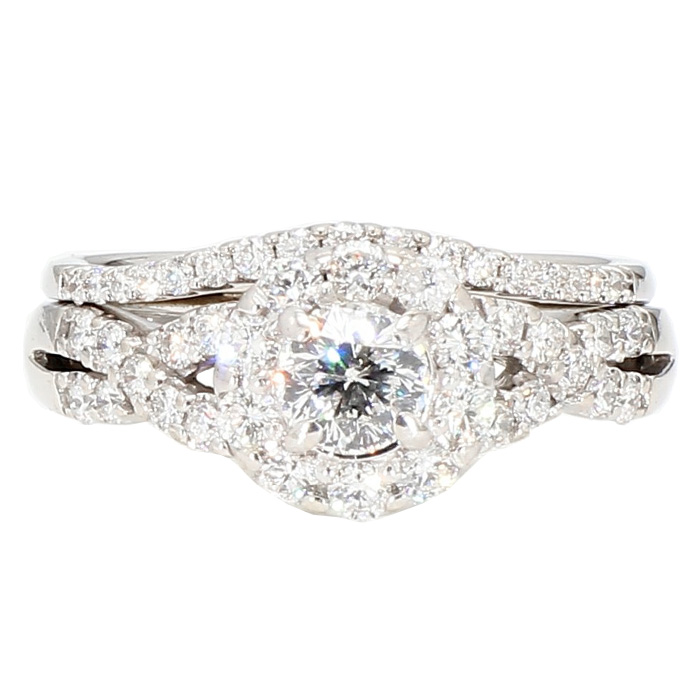 DIAMOND BRIDAL SET- 14K WHITE GOLD| 6.2G| 0.50CT TDW| 1.50CT TDW| SIZE 6""