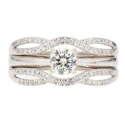 "DIAMOND BRIDAL SET- 14K WHITE GOLD| 6.4G| 0.50CT(C)| 1.00CT TDW| SIZE 9"""