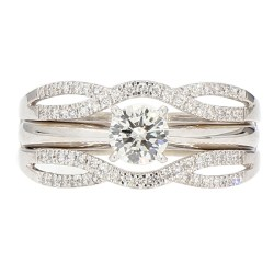DIAMOND BRIDAL SET- 14K WHITE GOLD| 6.4G| 0.50CT(C)| 1.00CT TDW| SIZE 9""