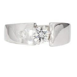 DIAMOND ENGAGEMENT RING- 14K WHITE GOLD| 6.6G| 0.50CT TDW| SIZE 8
