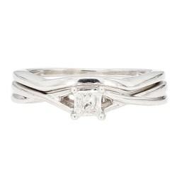"DIAMOND BRIDAL SET- 14K WHITE GOLD  4.8G  SIZE 5.75"""