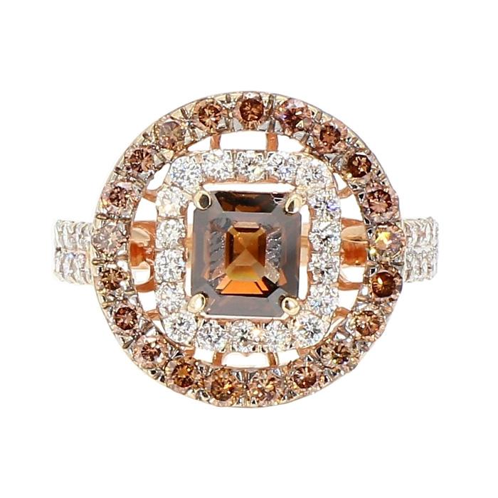"DIAMOND ENGAGEMENT RING- 14K ROSE GOLD  1.50CT(CENTER) NATURAL CHOCOLATE DIAMOND  2.50 CT TDW   SIZE 6.75"""