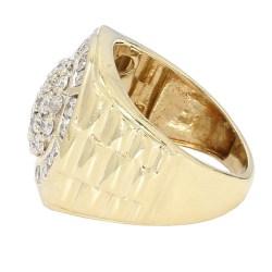 "MENS DIAMOND RING- 10K YELLOW GOLD| 9.4G| 2.00CT TDW| SIZE 10.50"""