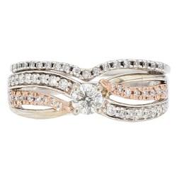"DIAMOND BRIDAL SET- 10K GOLD  4.0G  0.75CT TDW  SIZE 5.75"""