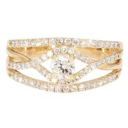"DIAMOND ENGAGEMENT RING- 14K YELLOW GOLD  4.0G  1.00CT TDW  SIZE 7.75"""