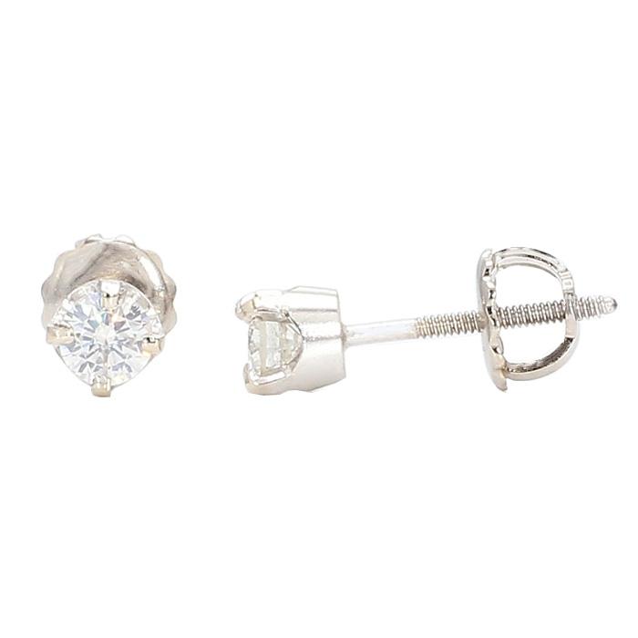 DIAMOND STUD EARRINGS- 14K WHITE GOLD| 0.43CT TDW