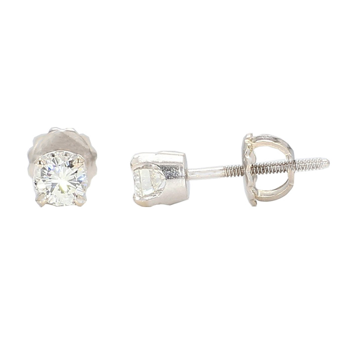 DIAMOND STUD EARRINGS- 14K WHITE GOLD| 0.48CT TDW