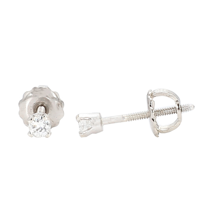 DIAMOND STUD EARRINGS- 14K WHITE GOLD| 0.15CT TDW