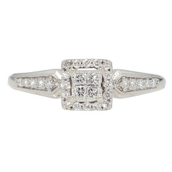 "DIAMOND ENGAGEMENT RING- 10K WHITE GOLD| 2.1G| 0.50CT TDW| SIZE 7"""