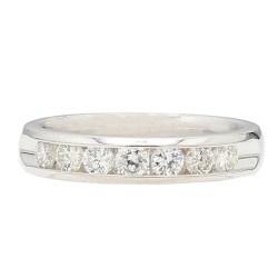 "DIAMOND WEDDING BAND- 14K WHITE GOLD| 3.4G| 0.50CT TDW| SIZE 4.50"""