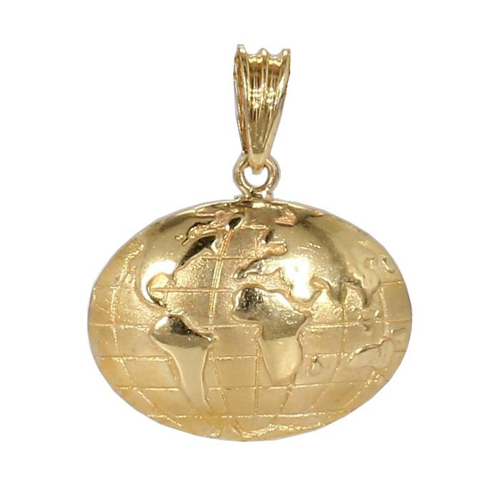 "HALF GLOBE PENDANT- 14K YELLO GOLD  5.3G  HEIGHT 1"""