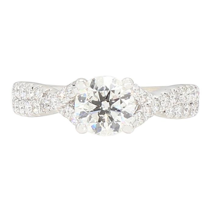 "DIAMOND ENGAGEMENT RING- 14K WHITE GOLD| 3.7G| 1.05CT(C)| 2.05CT TDW| SIZE 6.75"""