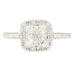 DIAMOND ENGAGEMENT RING- 14K WHITE GOLD| 2.8G| 1.00CT TDW| SIZE 6""