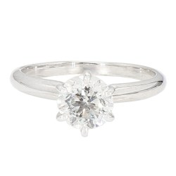 """SOLITAIRE DIAMOND ENGAGEMENT RING- 10K WHITE GOLD  2.1G  0.96CT TDW  SIZE 5"""""""