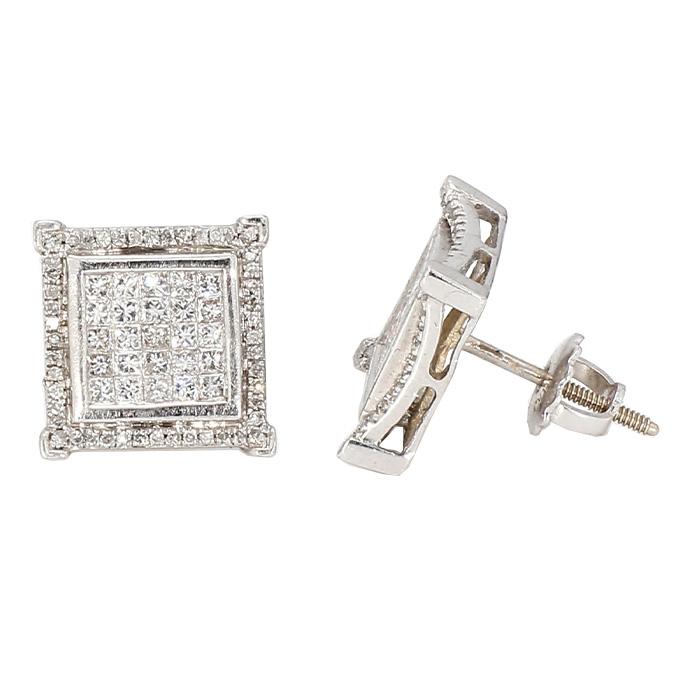 MENS DIAMOND STUD EARRINGS- 14KWHITE GOLD  1.00CT TDW