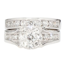 DIAMOND BRIDAL SET- 14K WHITE GOLD| 13.3G| 2.00CT TDW| SIZE 7""