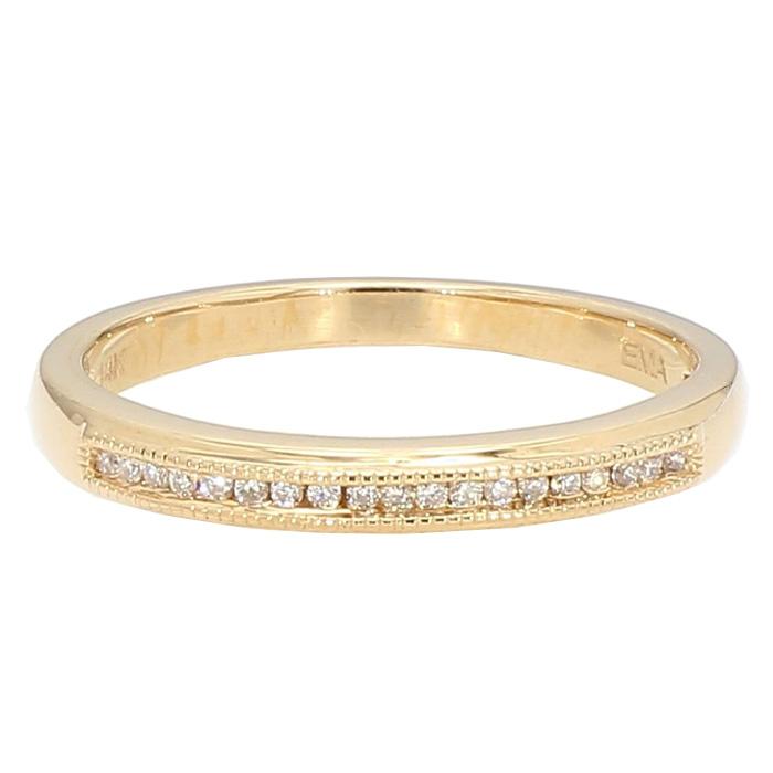 """DIAMOND WEDDING BAND- 14K YELLOW GOLD  2.6G  SIZE 7.25"""""""