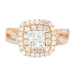 """DIAMOND BRIDAL SET- 14K ROSE GOLD  5.4G  1.00CT TDW  SIZE 6.75"""""""