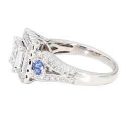"DIAMOND ENGAGEMENT RING- 14K WHITE GOLD| 5.4G| 1.00CT DIAMOND| BLUE SAPPHIRE| SIZE 6.25"""