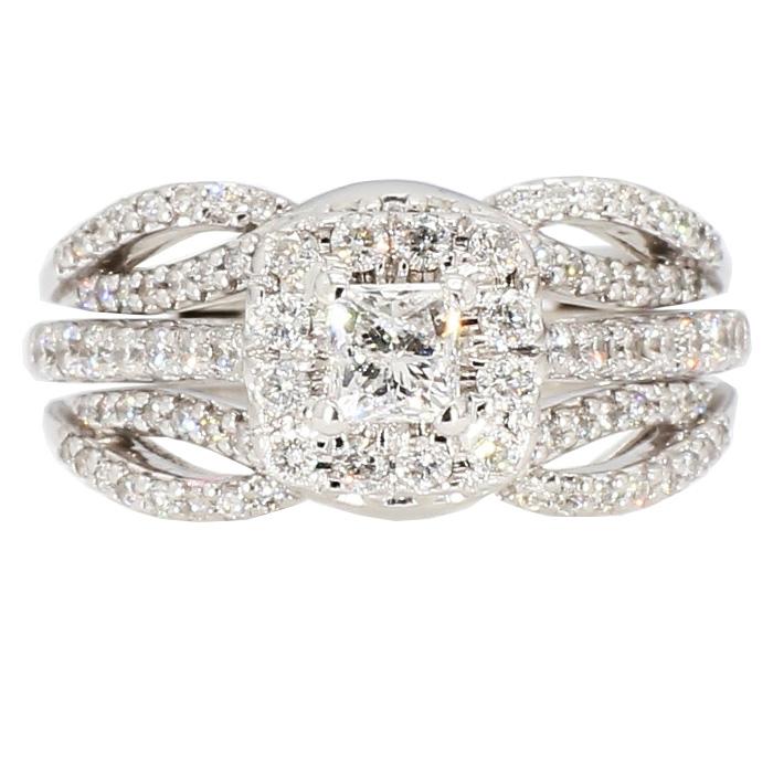 "DIAMOND BRIDAL SET- 14K WHITE GOLD  7.6G  2.00CT TDW  SIZE 5.50"""
