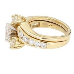 "DIAMOND BRIDAL SET- 14K YELLOW GOLD  8.0G  1.50CT TDW  SIZE 6.25"""