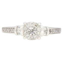 """DIAMOND ENGAGEMENT RING- 10K WHITE GOLD