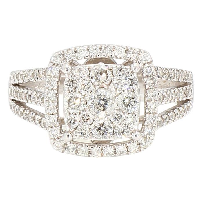 "DIAMOND ENGAGEMENT RING- 10K WHITE GOLD| 4.6G| 1.00CT TDW| SIZE 7.25"""
