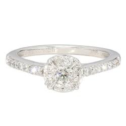 "DIAMOND ENGAGEMENT RING- 10K WHITE GOLD  2.8G  0.51CT TDW  SIZE 6"""