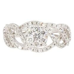 "DIAMOND ENGAGEMENT RING- 14K WHITE GOLD  4.7G  0.75CT TDW  SIZE 6"""
