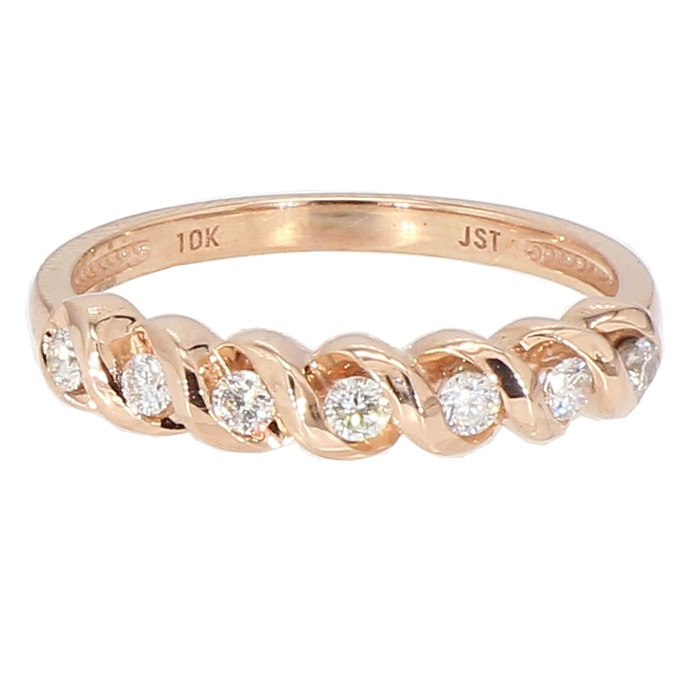 "DIAMOND WEDDING BAND- 10K ROSE GOLD| 2.40G| SIZE 7"""