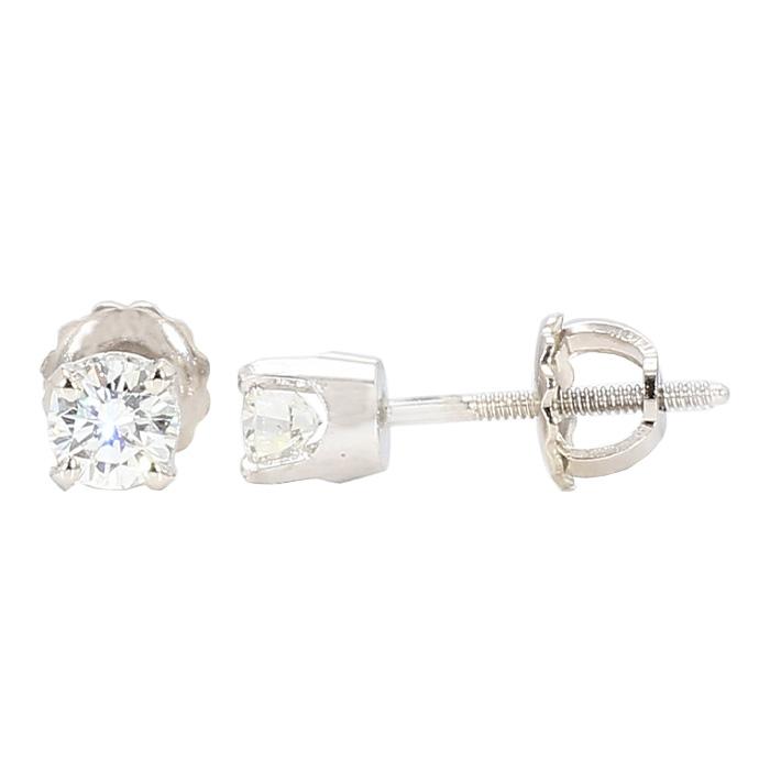 DIAMOND STUD EARRINGS- 14K WHITE GOLD  0.52CT TDW
