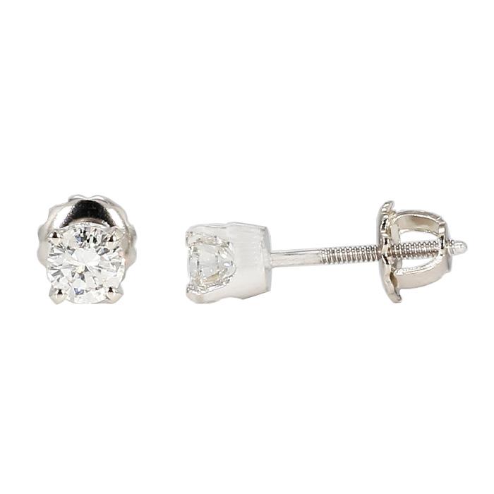 DIAMOND STUD EARRINGS- 14K WHITE GOLD| 0.60CT TDW