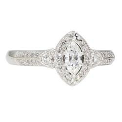 "DIAMOND ENGAGEMENT RING- 14K WHITE GOLD  4.7G  1.00CT TDW  SIZE 8"""