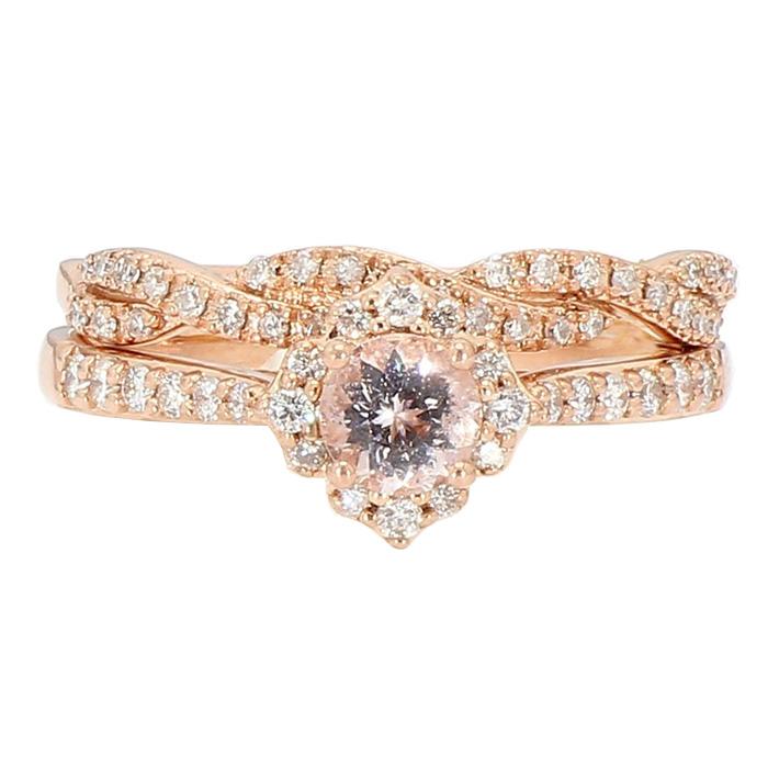 "DIAMOND BRIDAL SET- 10K/14K ROSE GOLD| 5.4G| SIZE 9"""
