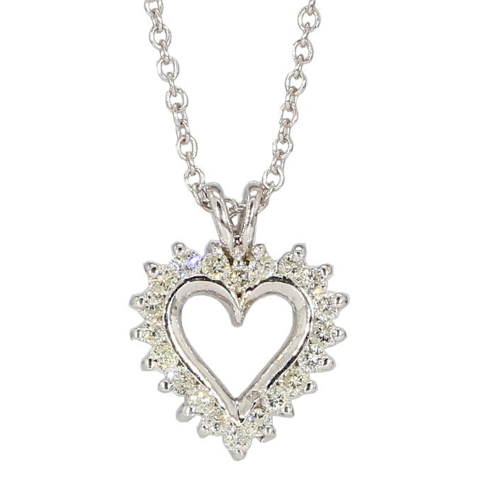 "DIAMOND HEART PENDANT & CHAIN NECKLACE- 14K WHITE GOLD| 4.8G| 0.50CT TDW| LENGTH 18"""